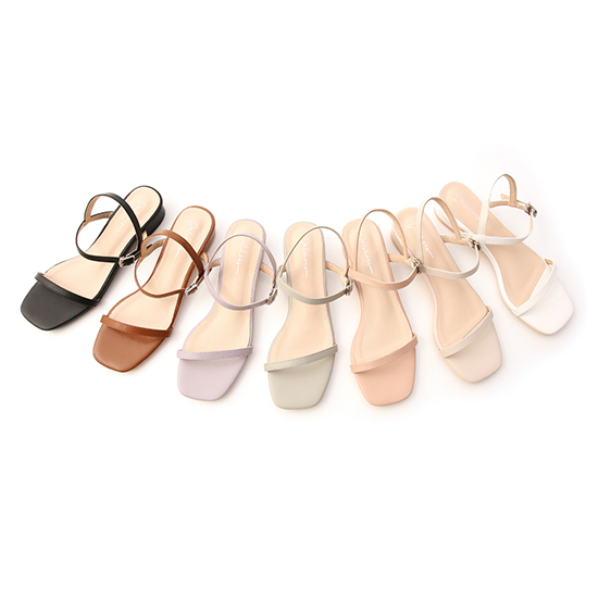 D+AF一字細帶方頭低跟涼鞋 多色細帶涼鞋