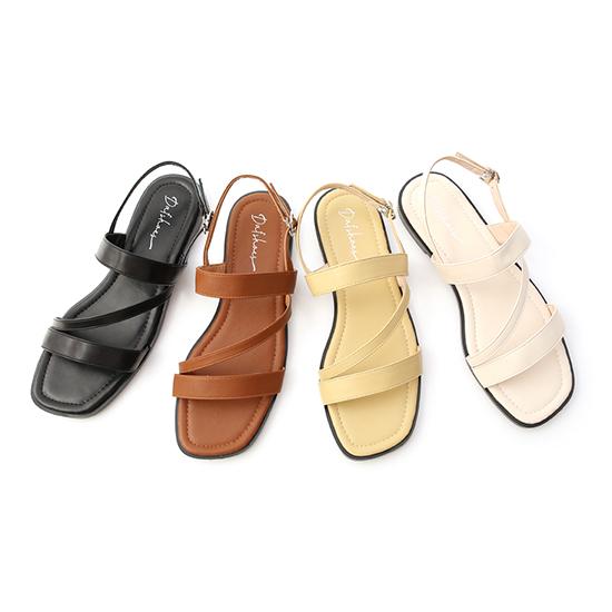 D+AF一字斜帶方頭平底涼鞋 四色可選