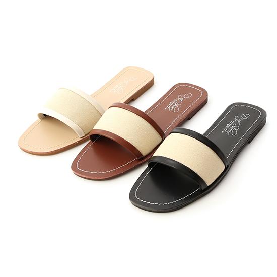 D+AF異素材拼接一字拖鞋
