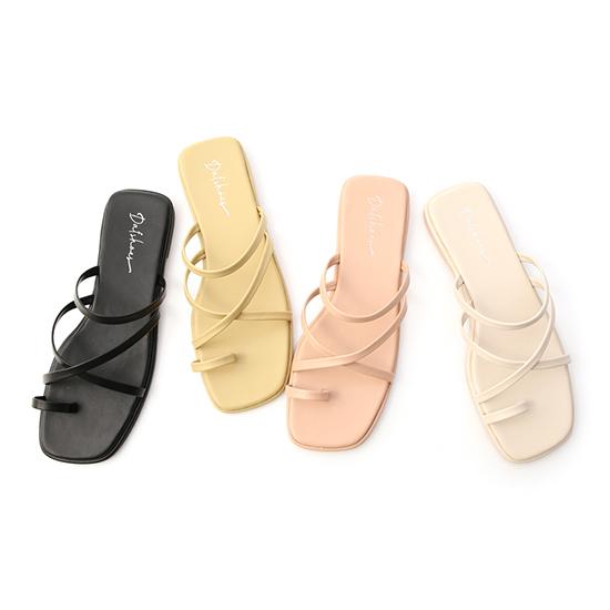 D+AF交叉細帶套指平底涼鞋