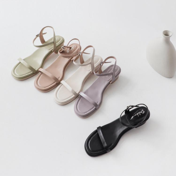 D+AF腳踝粗涼鞋推薦 一字低跟涼鞋 五色可選