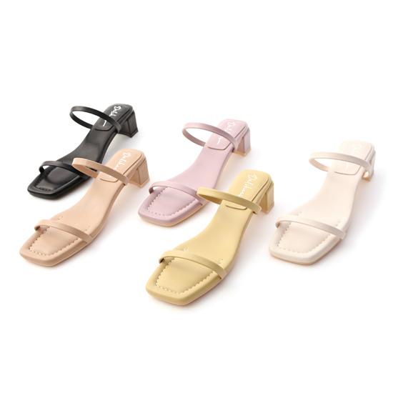 D+AF腳踝粗涼鞋推薦 夏日冰沙 雙一字中跟涼鞋 一字涼鞋