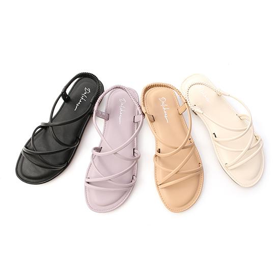 交叉細帶超軟Q底涼鞋  平底涼鞋 黑色 紫色 杏色 米色