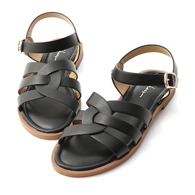 圓弧線條軟Q底涼鞋  編織涼鞋 平底涼鞋 黑色