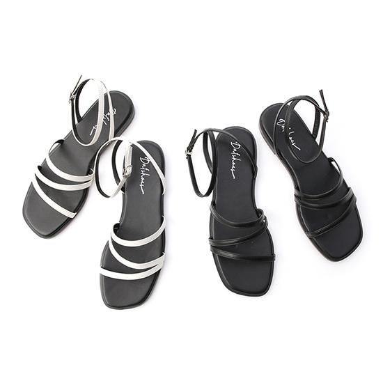 Z字細帶交叉平底涼鞋 羅馬涼鞋 平底涼鞋 黑色 白色