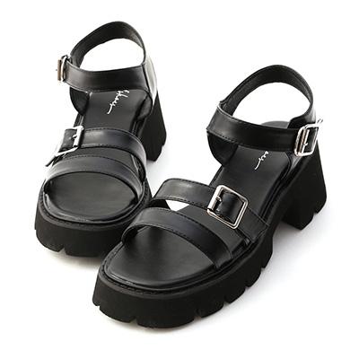 雙帶釦環厚底羅馬涼鞋 厚底涼鞋 黑色涼鞋