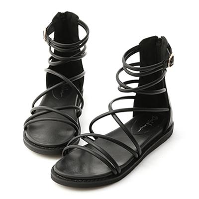 雙交叉細帶羅馬涼鞋 羅馬涼鞋 平底涼鞋 黑色涼鞋