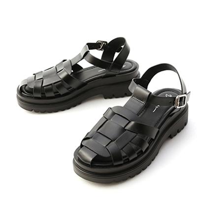 鬆糕底編織羅馬涼鞋 編織涼鞋 黑色涼鞋