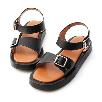 雙釦環厚底涼鞋 鬆高涼鞋 平底涼鞋 黑色涼鞋
