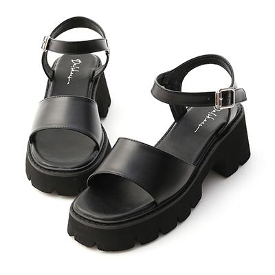 一字寬帶厚底涼鞋 黑色涼鞋