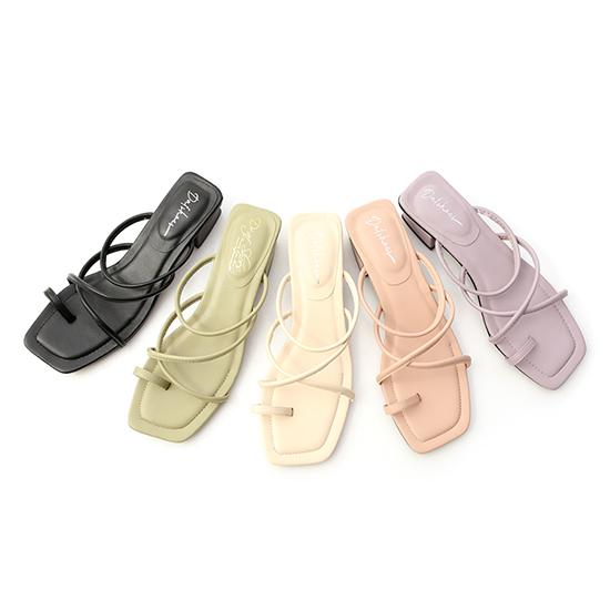交叉細帶套指低跟涼鞋 羅馬涼鞋 低跟涼鞋 黑色 綠色 米色 粉色 紫色