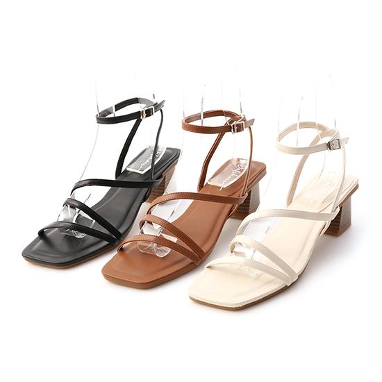 Z字繫踝木紋跟涼鞋 羅馬涼鞋 中跟涼鞋