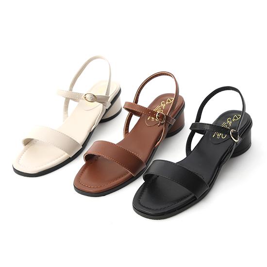 韓國同步.一字繫踝橢圓跟涼鞋 低跟涼鞋 黑色 棕色 米色