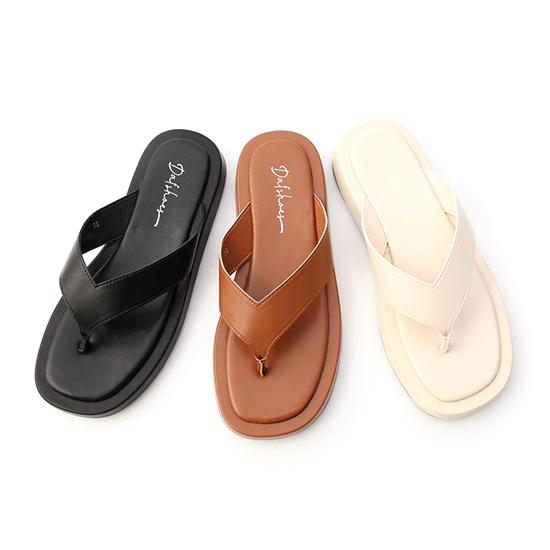 D+AF人字寬帶夾腳厚底拖鞋