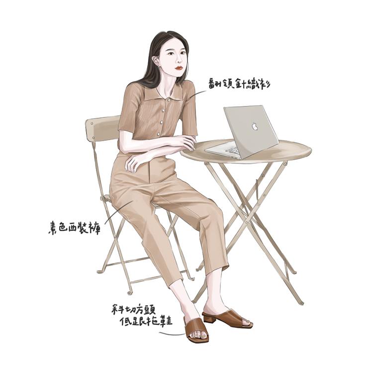 D+AF斜切設計方頭低跟拖鞋 居家上班 在家上班 宅穿搭 手繪 儀式感up 拖鞋 涼拖鞋