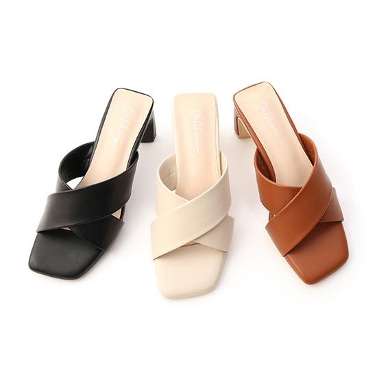 D+AF寬版交叉扁跟高跟涼鞋