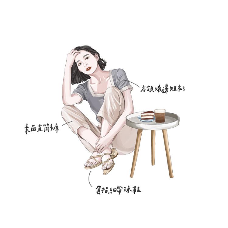 D+AF交叉套指細帶低跟涼鞋 居家穿搭 宅時尚 手繪穿搭 涼拖鞋 儀式感up