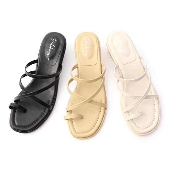D+AF交叉套指細帶低跟涼鞋