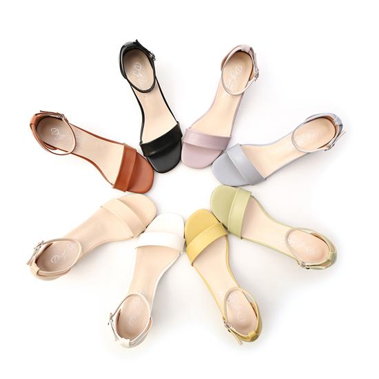MIT一字方頭中跟涼鞋 台灣製造 一字涼鞋