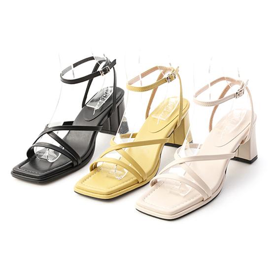 一字交叉繫踝高跟涼鞋 黑色 米白色 黃色