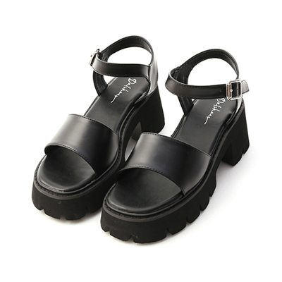 一字寬帶厚底涼鞋 暗黑系 黑色涼鞋