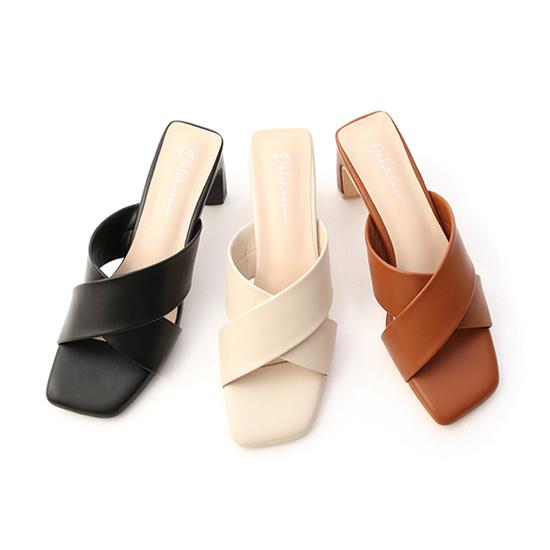寬版交叉扁跟高跟涼鞋 黑色 米色 棕色