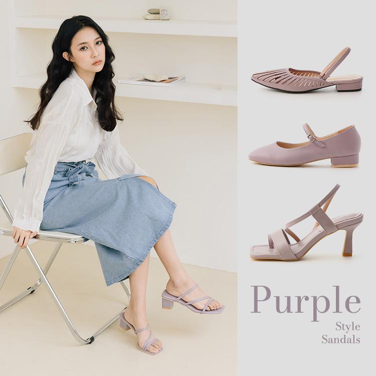 D+AF 紫色 防彈紫 拖鞋 涼鞋 平底鞋 2021紫色涼鞋推薦