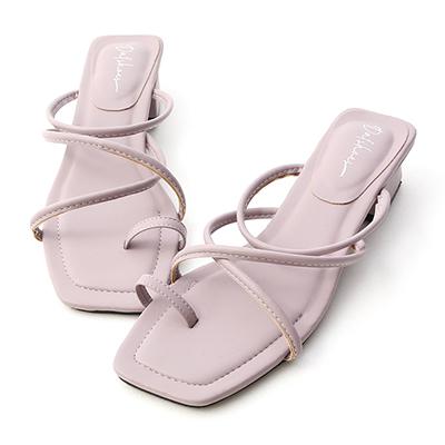 D+AF交叉細帶套指低跟涼鞋  紫色 拖鞋 涼鞋 方頭
