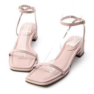 D+AF一字繞踝方頭中跟涼鞋  紫色方頭涼鞋推薦  防彈紫