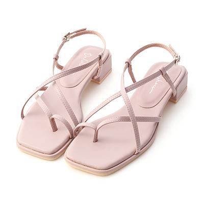 D+AF套指細帶積木跟涼鞋  紫色方頭涼鞋推薦