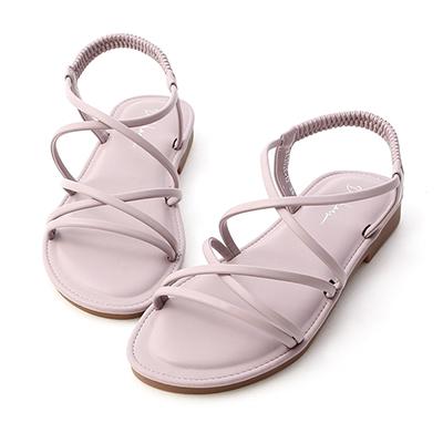 D+AF交叉細帶超軟Q底涼鞋  紫色  涼鞋  圓頭 平底