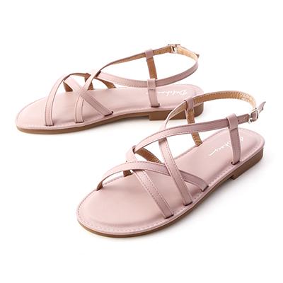 D+AF雙層交叉軟Q底涼鞋 紫色  涼鞋  圓頭 平底