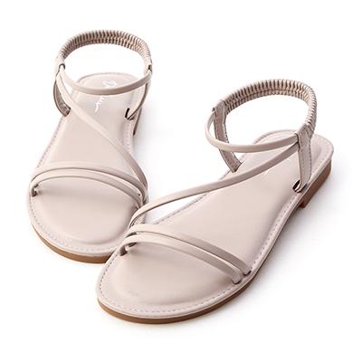 D+AF斜帶超軟Q底涼鞋 紫色  涼鞋推薦  圓頭 平底