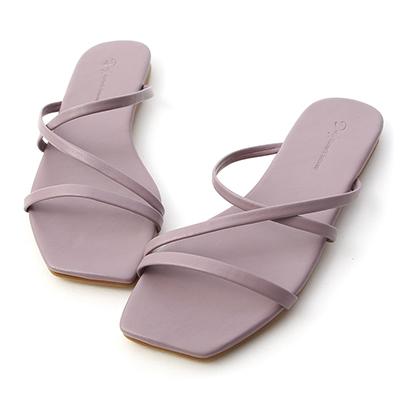 D+AF三條細帶平底涼拖鞋 紫色拖鞋推薦  方頭 平底