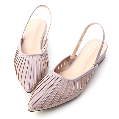 D+AF花形鏤空尖頭後空鞋 紫色低跟鞋推薦