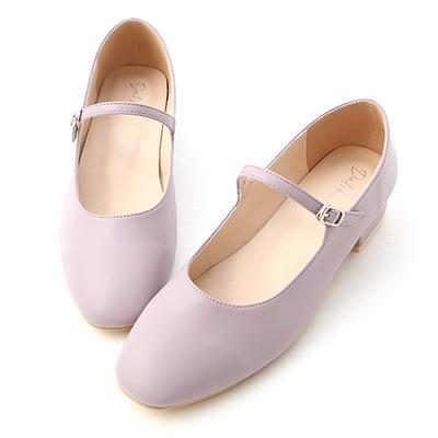 D+AF圓頭細帶低跟瑪莉珍鞋 紫色低跟鞋 紫色瑪莉珍鞋推薦
