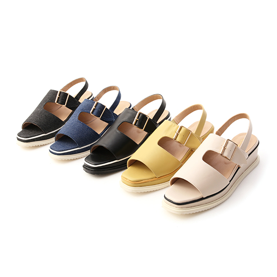 D+AF方頭釦環厚底涼鞋