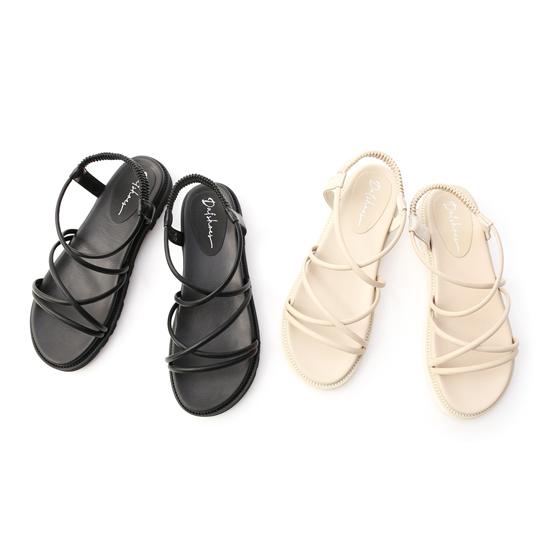 交叉帶加厚底羅馬涼鞋 黑色 米白色厚底涼鞋
