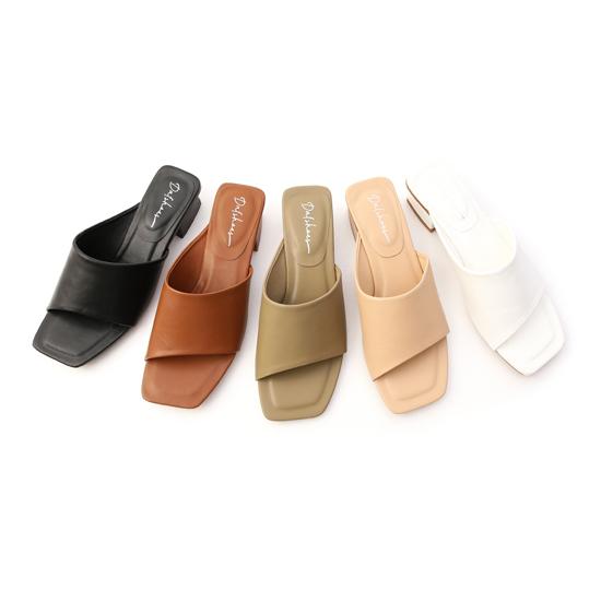 斜切設計方頭低跟拖鞋 黑 白 棕 杏 綠 低跟涼拖