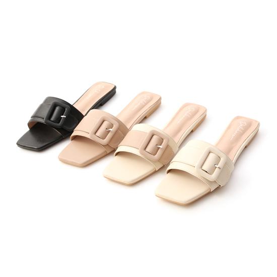 大方釦方頭平底拖鞋穿搭 黑 米 杏 撞色拖鞋