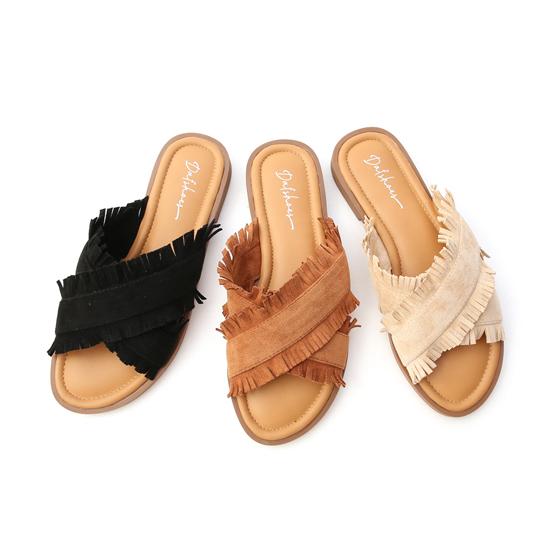 鬚鬚流蘇交叉平底拖鞋 黑色 棕色 杏色涼拖鞋
