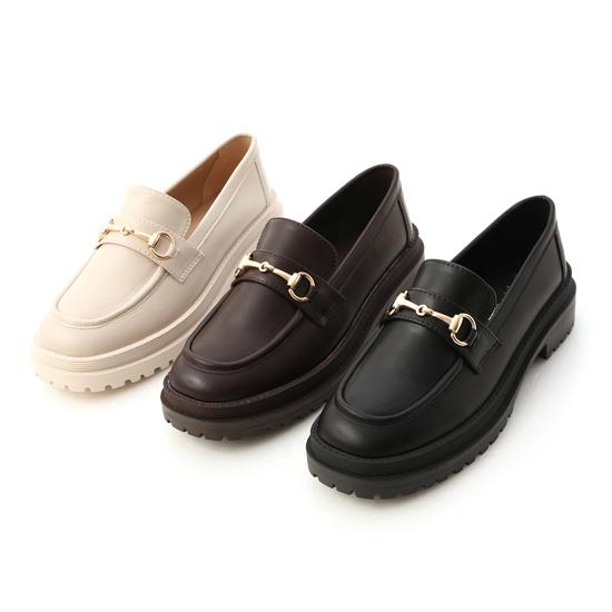 鬆糕底馬銜釦樂福鞋 黑色 咖啡色 米白色