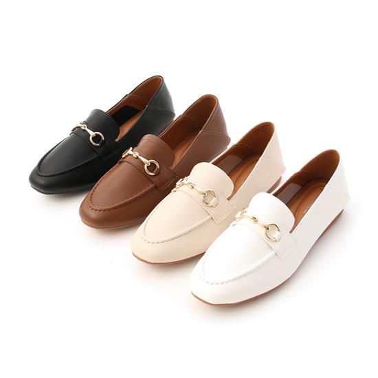 超軟Q馬銜釦樂福鞋 黑色 咖啡色 米色 白色兩穿樂福鞋