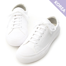 D+AF 粉彩綁帶平底休閒小白鞋